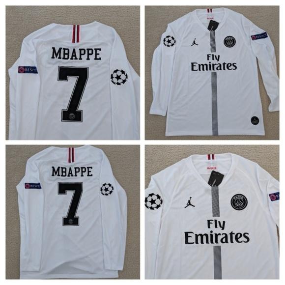 best website 8779f 03f9e Mbappe #7 PSG Jordan Long Sleeve Soccer Jersey NWT